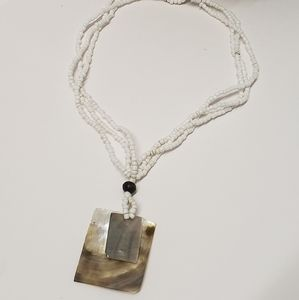 Vintage Beaded & MOP Pendant Necklace